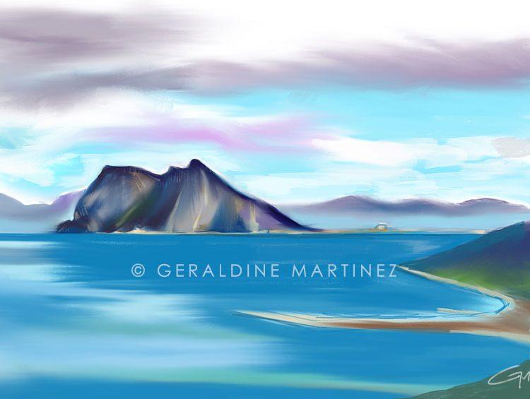 geraldine martinez ipad landscape blue rock