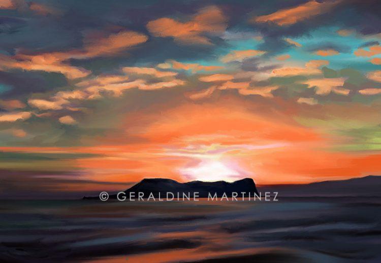 orange-sunset-rock-geraldine-martinez-gibraltar-artist